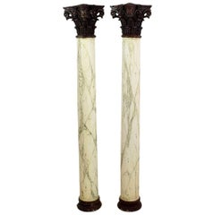 Late 18th Century Large Italian Corinthian Painted Columns