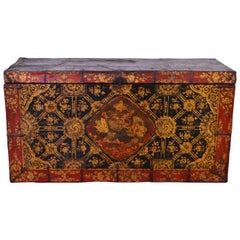 Late 18th Century Leather and Metal Tibetan Trunk