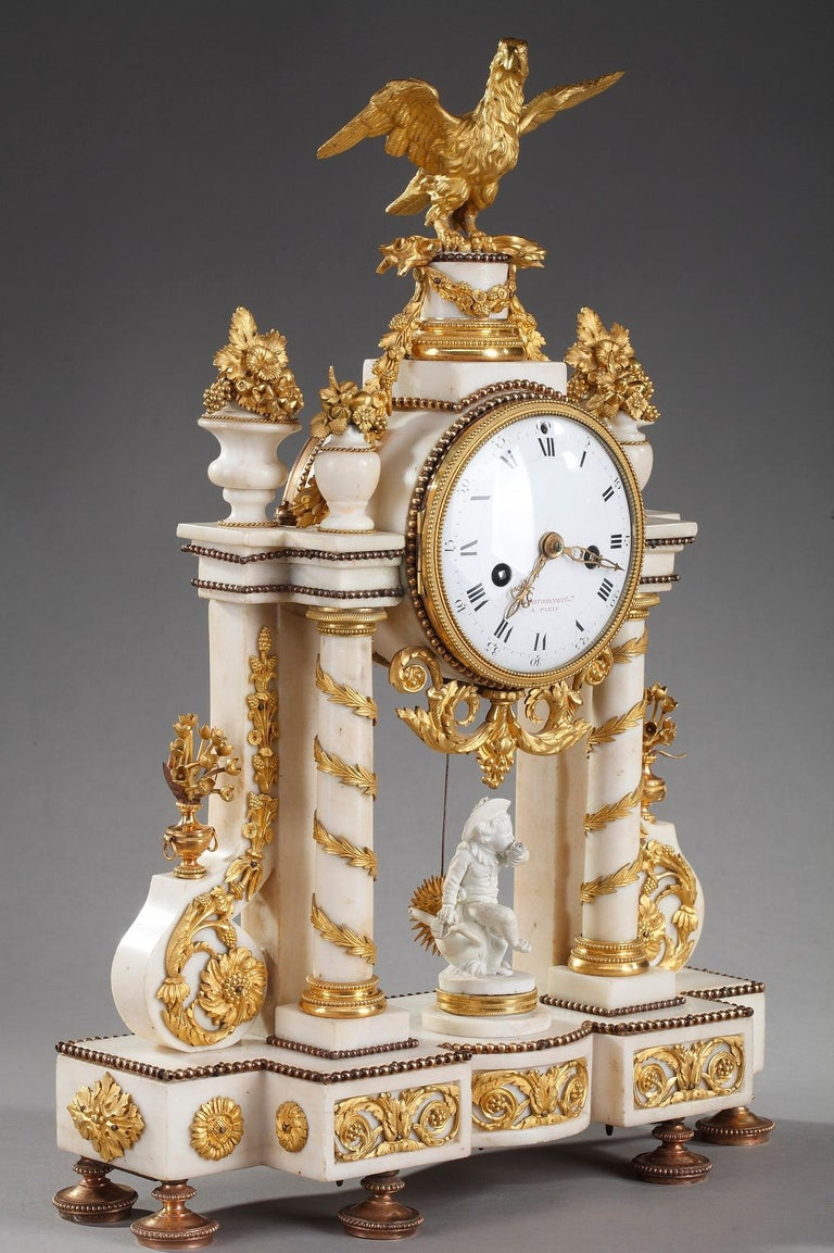 Late 18th Century Louis XVI Marble and Gilt Bronze Portico Clock For Sale 10