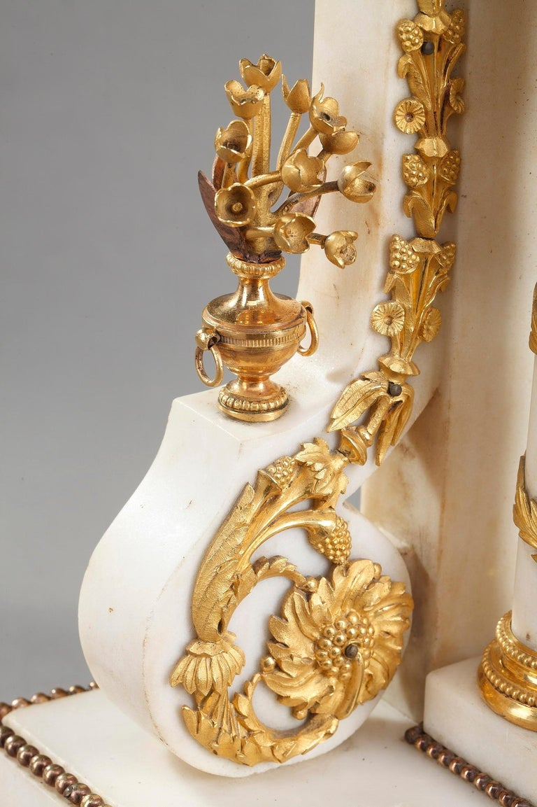 Late 18th Century Louis XVI Marble and Gilt Bronze Portico Clock For Sale 11
