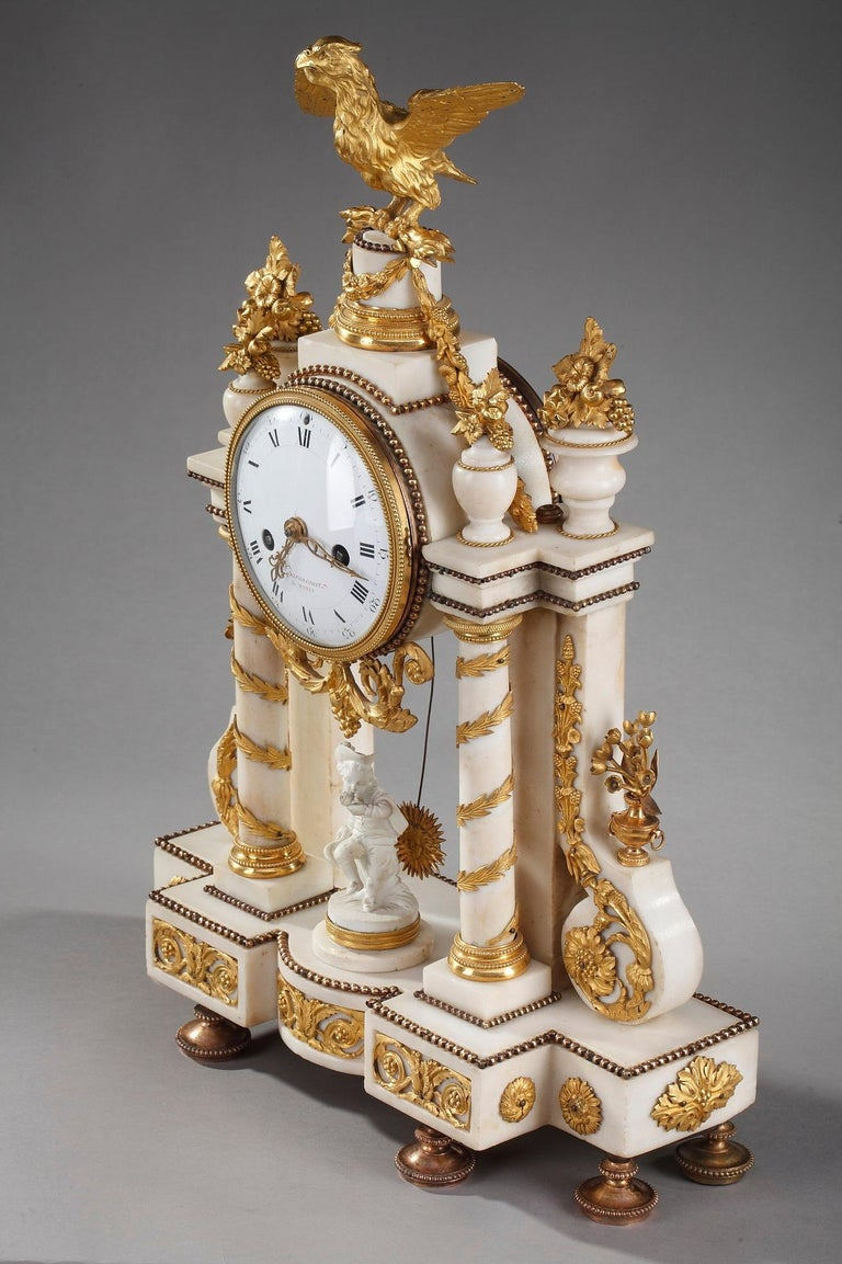 Late 18th Century Louis XVI Marble and Gilt Bronze Portico Clock For Sale 13