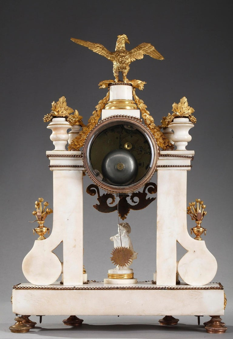 Late 18th Century Louis XVI Marble and Gilt Bronze Portico Clock For Sale 14