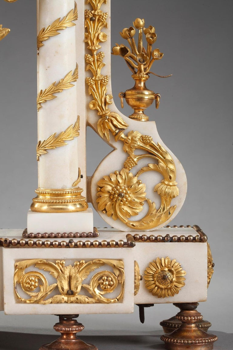 French Late 18th Century Louis XVI Marble and Gilt Bronze Portico Clock For Sale