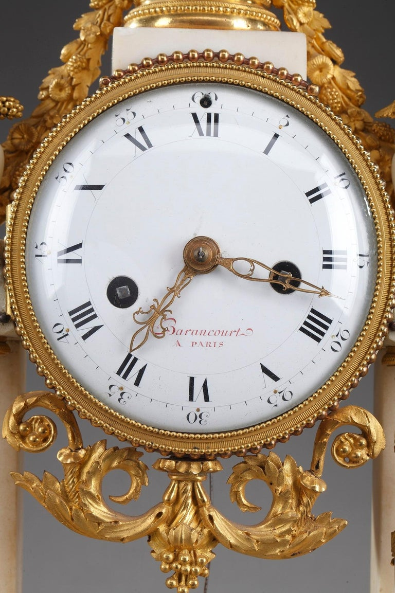 Late 18th Century Louis XVI Marble and Gilt Bronze Portico Clock For Sale 1
