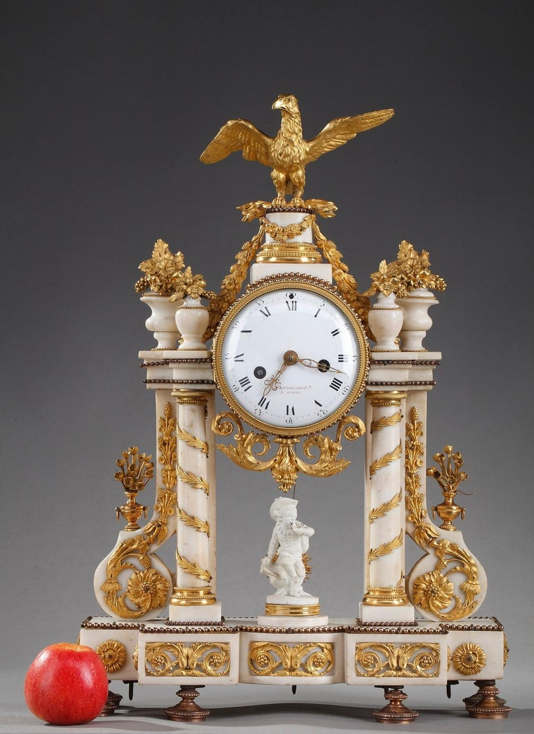 Late 18th Century Louis XVI Marble and Gilt Bronze Portico Clock For Sale 3