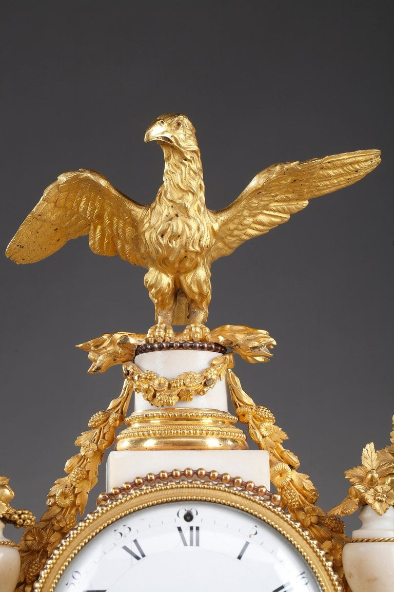 Late 18th Century Louis XVI Marble and Gilt Bronze Portico Clock For Sale 4
