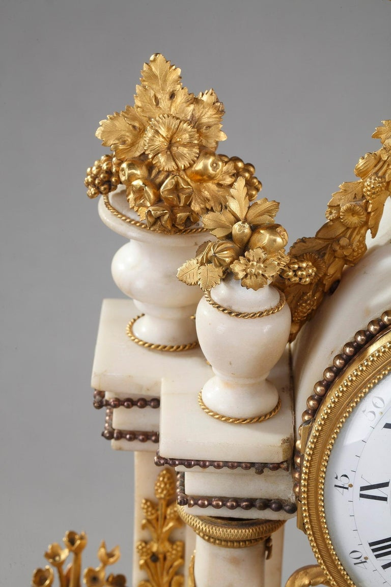 Late 18th Century Louis XVI Marble and Gilt Bronze Portico Clock For Sale 5
