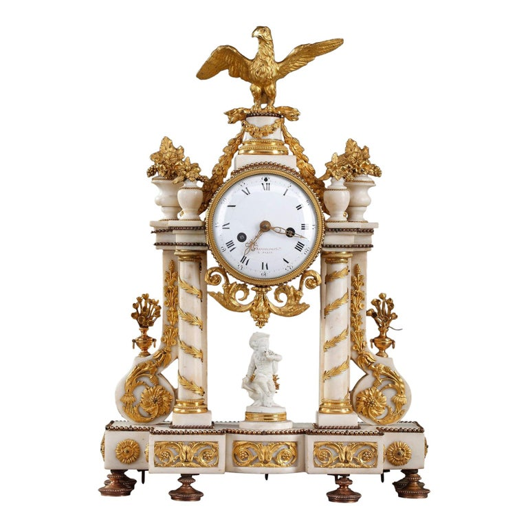 Late 18th Century Louis XVI Marble and Gilt Bronze Portico Clock For Sale