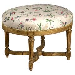 Late 18th Century Louis XVI Period Giltwood Oval Stool