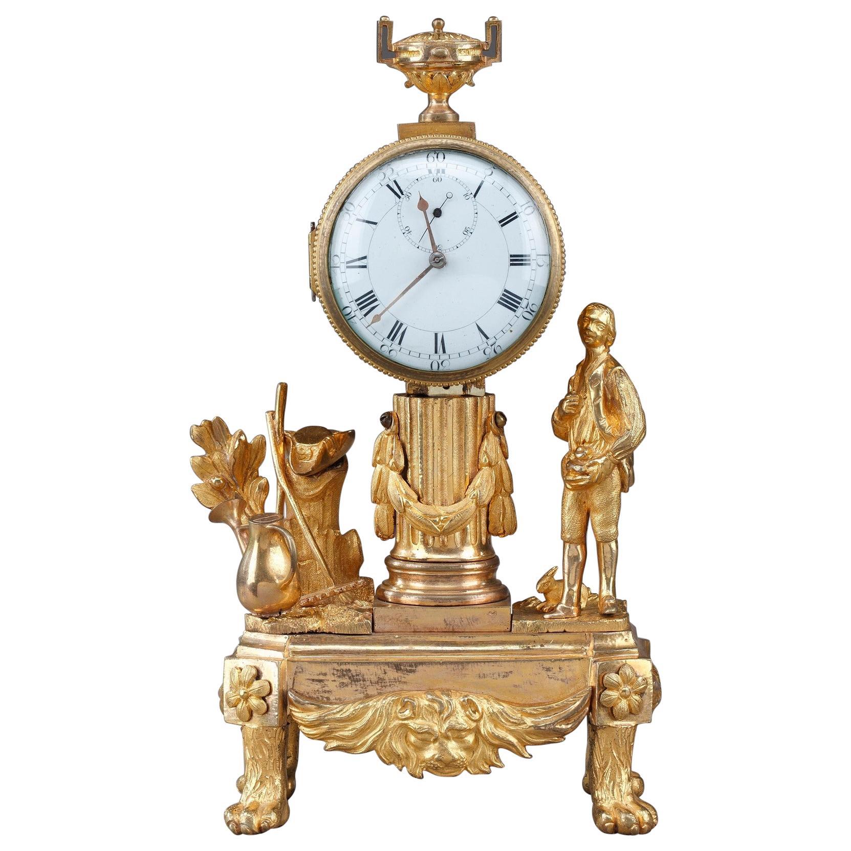Late 18th Century Louis XVI Small Clock: The Gardener