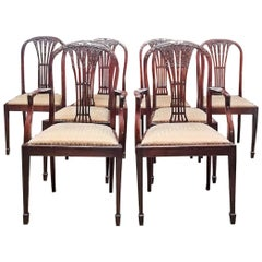 Late 18th Century Mahogany Hepplewhite Style Dining Chairs, Set of 8