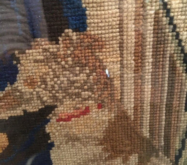 Late 18th Century Needlepoint Portrait of Gentleman and Dog For Sale 6