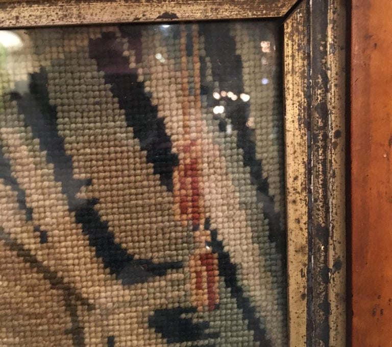 Late 18th Century Needlepoint Portrait of Gentleman and Dog For Sale 8