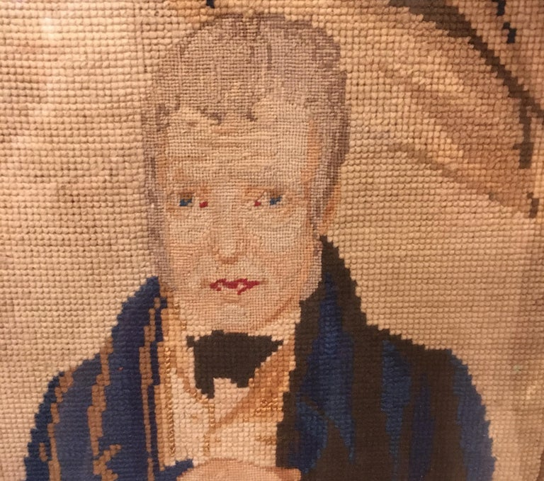 Late 18th Century Needlepoint Portrait of Gentleman and Dog For Sale 10