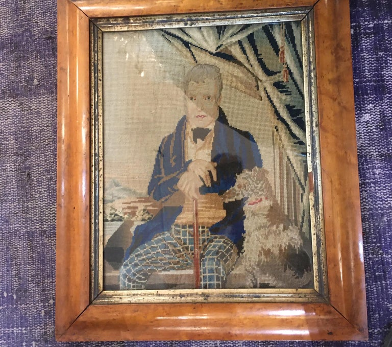Late 18th Century Needlepoint Portrait of Gentleman and Dog For Sale 2