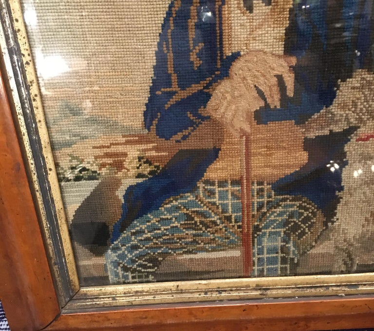 Late 18th Century Needlepoint Portrait of Gentleman and Dog For Sale 4