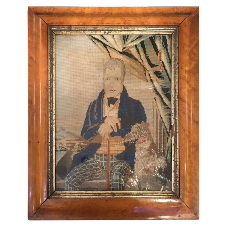 Late 18th Century Needlepoint Portrait of Gentleman and Dog For Sale