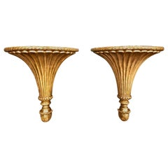 Late 18th Century Neoclassical Carved Gilt Wood Brackets or Sconces, Pair