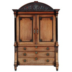 Late 18th Century Neoclassical Dutch Oak Linen Press of Wonderful Color