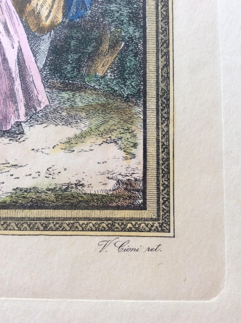 Late 18th Century Neoclassical French Fashion Engraving Print, François Boucher In Good Condition For Sale In Arles, FR