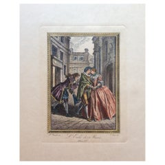 Late 18th Century Neoclassical French Fashion Engraving Print, François Boucher