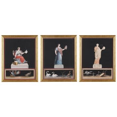 Late 18th Century Neoclassical Gouaches, Three Muses