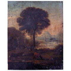 Late 18th Century Oil on Panel of an English Rural Landscape, circa 1790