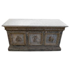 Late 18th Century Painted Double Sided Counter with a White Marble Top