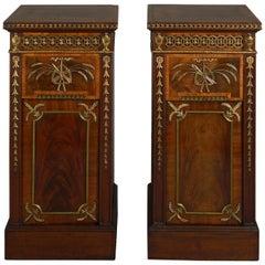 Late 18th Century Pair of George III Ormolu-Mounted Mahogany Pedestal Cupboards