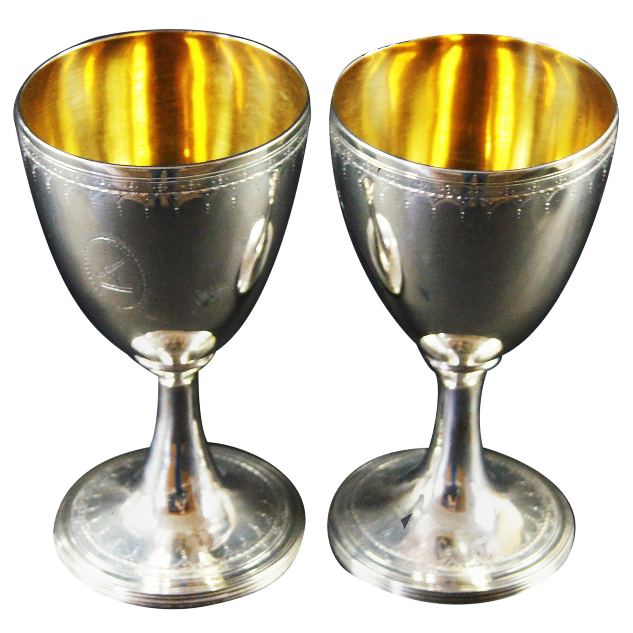 Late 18th Century Pair of George III Silver Wine Goblets