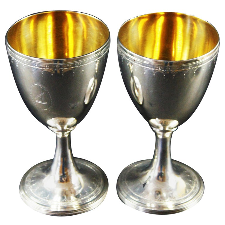 Late 18th Century Pair of George III Silver Wine Goblets For Sale