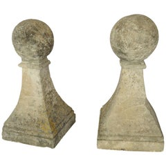 Late 18th Century Pair of Hand Cut Stone Finials with Ball Tops