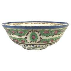 Late 18th Century Persian Polychrome Ceramic Bowl with Foliate Decoration