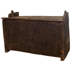 Late 18th Century Primitive Cedar Black Painted Settle, Trunk, Chest