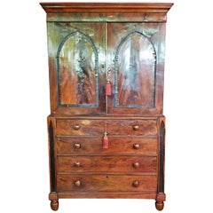 Late 18C Regency Irish Gothic Revival Linen or Vestment Press