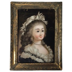 Late 18th Century Reverse Painting on Glass Portrait