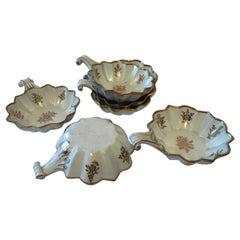 Late 18th Century Richard Ginori Doccia Set 6 Ice Cream Cups in White and Gold