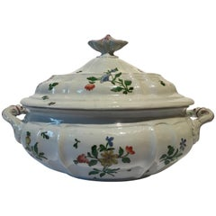 Late 18th Century Richard Ginori Porcelain Soup Bowl with Floral Decor