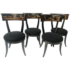 Late 18th Century Set of 4 Florentine Directoire Black Lacquer Saber Leg Chairs