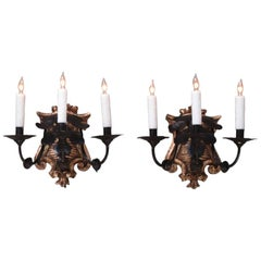 Late 18th Century Set of Four Italian Baroque Silvered Giltwood and Tole Sconces