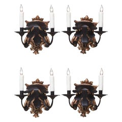Late 18th Century Set of Four Italian Baroque Silvered Giltwood Two-Arm Sconces