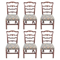 Late 18th Century Set of Six Ladder Back Dining Chairs
