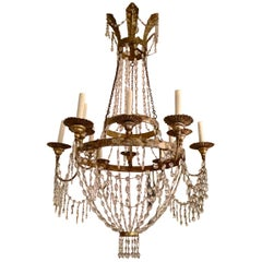 Late 18th Century Silvered Metal Twelve-Light Empire Chandelier