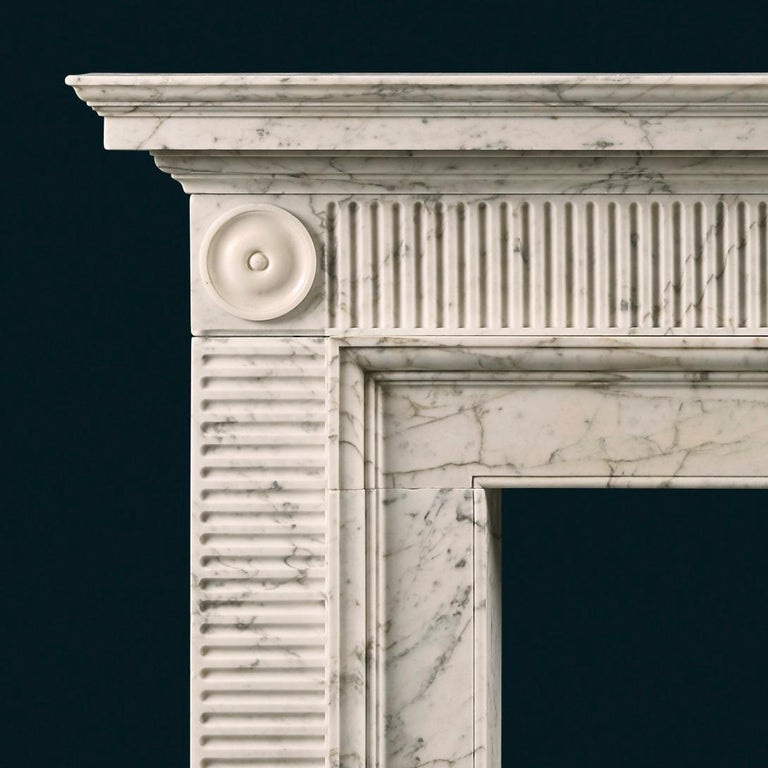 Neoclassical Late 18th Century Soane Style Fireplace in Carrara Marble For Sale