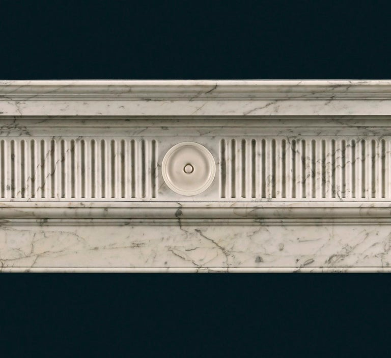 British Late 18th Century Soane Style Fireplace in Carrara Marble For Sale