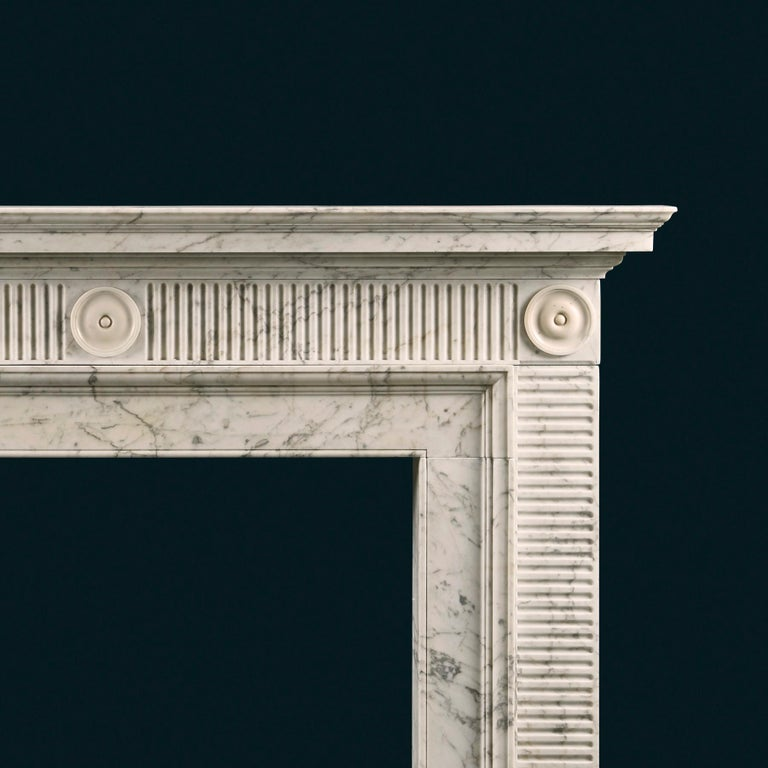Carved Late 18th Century Soane Style Fireplace in Carrara Marble For Sale
