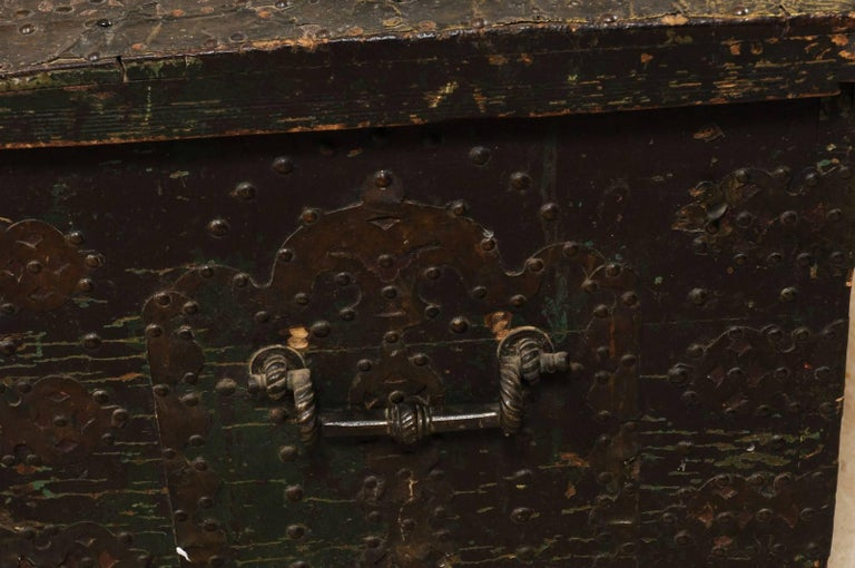Late 18th Century Spanish Baroque Wood Coffer with Brass Nail-head Adornment For Sale 5