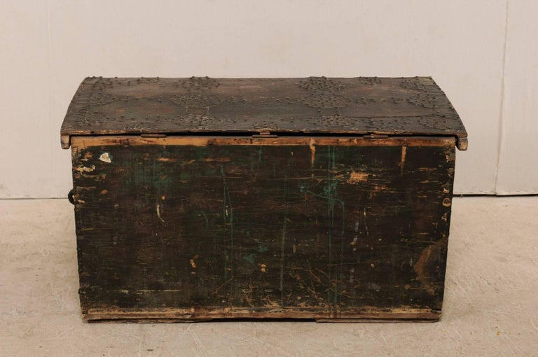 Late 18th Century Spanish Baroque Wood Coffer with Brass Nail-head Adornment For Sale 6