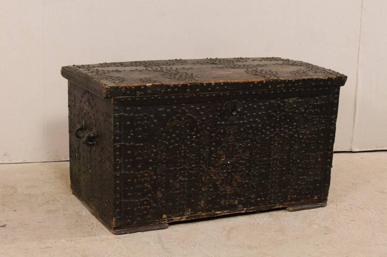 Late 18th Century Spanish Baroque Wood Coffer with Brass Nail-head Adornment For Sale 2