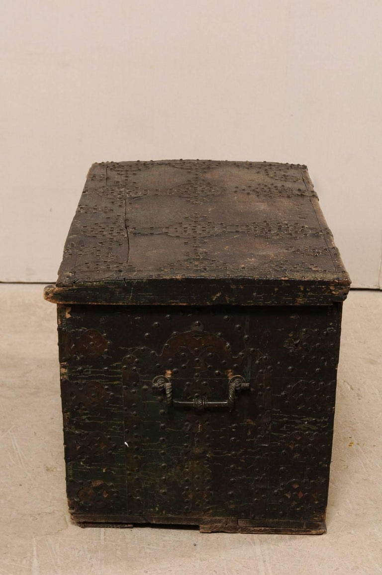 Metal Late 18th Century Spanish Baroque Wood Coffer with Brass Nail-head Adornment For Sale